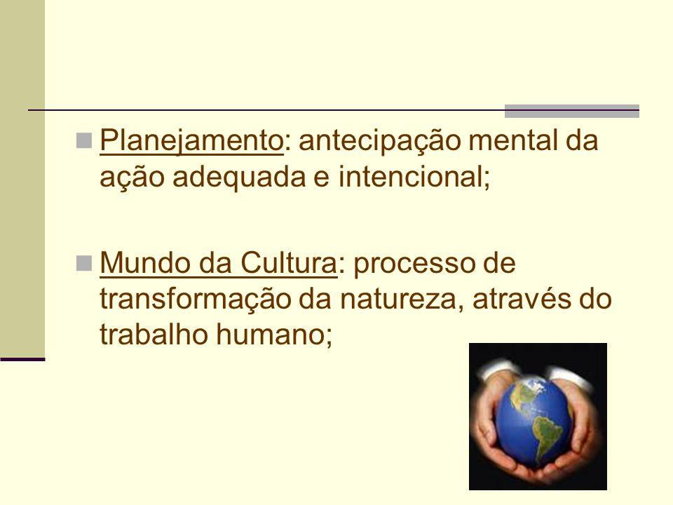 Planejamento: antecipação mental da ação adequada e intencional; Mundo da Cultura: processo de transformação da natureza, através do trabalho humano;