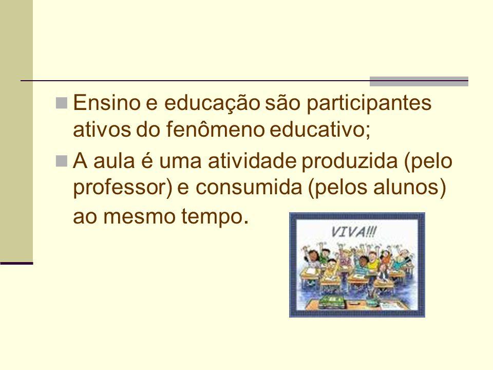 Ensino e educação são participantes ativos do fenômeno educativo; A aula é uma atividade produzida (pelo professor) e consumida (pelos alunos) ao mesm