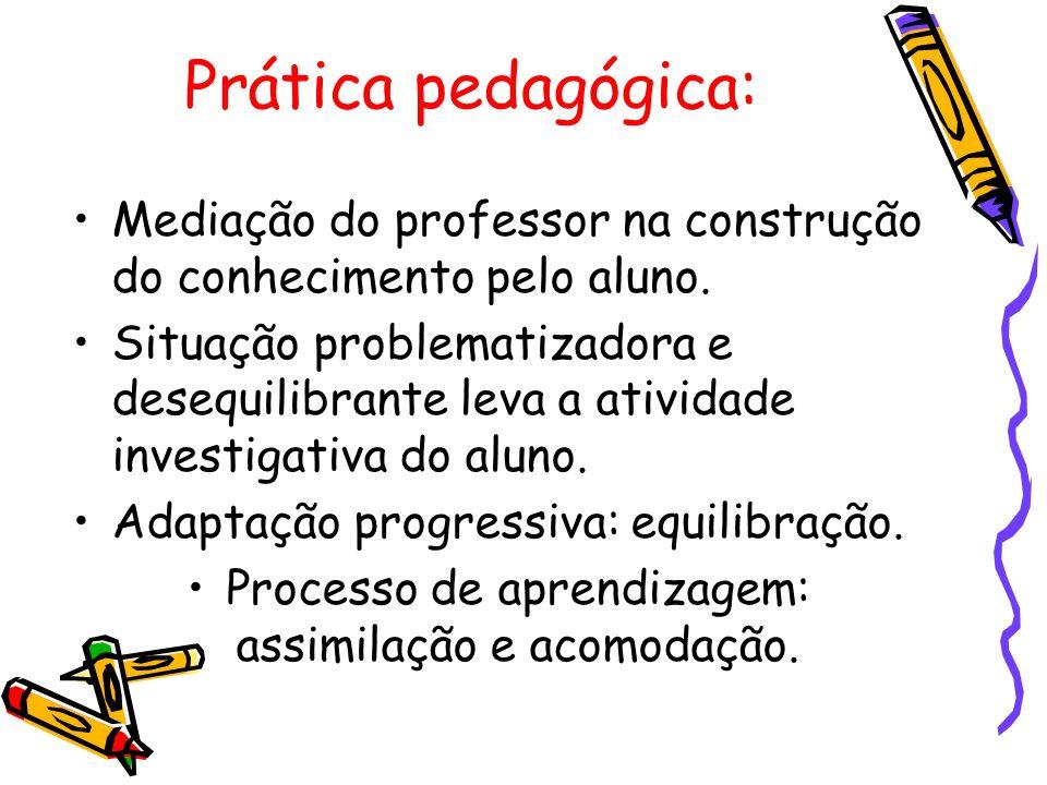 Prática pedagógica: Mediação do professor na construção do conhecimento pelo aluno. Situação problematizadora e desequilibrante leva a atividade inves