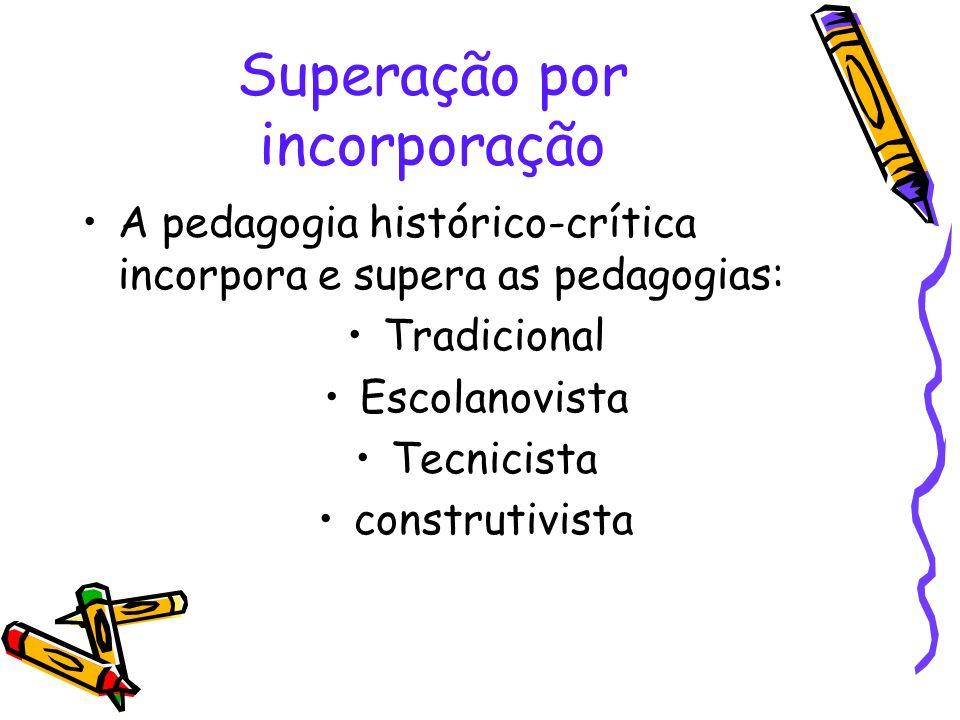 Superação por incorporação A pedagogia histórico-crítica incorpora e supera as pedagogias: Tradicional Escolanovista Tecnicista construtivista