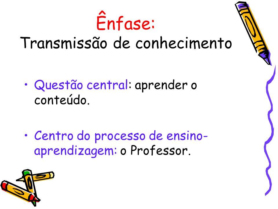 Ênfase: Transmissão de conhecimento Questão central: aprender o conteúdo. Centro do processo de ensino- aprendizagem: o Professor.