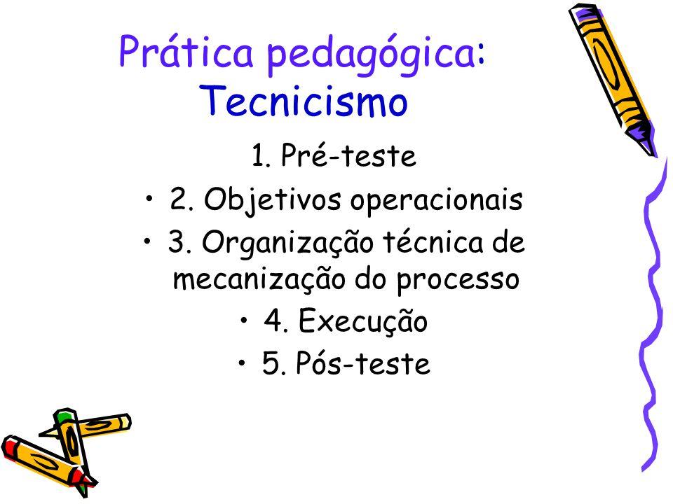 Prática pedagógica: Tecnicismo 1. Pré-teste 2. Objetivos operacionais 3. Organização técnica de mecanização do processo 4. Execução 5. Pós-teste