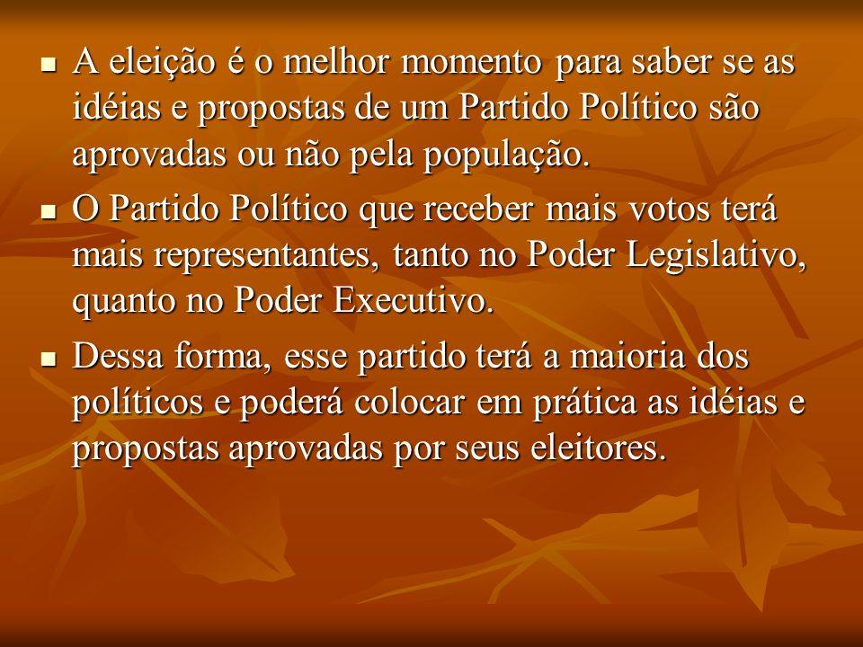 A eleição é o melhor momento para saber se as idéias e propostas de um Partido Político são aprovadas ou não pela população. O Partido Político que re