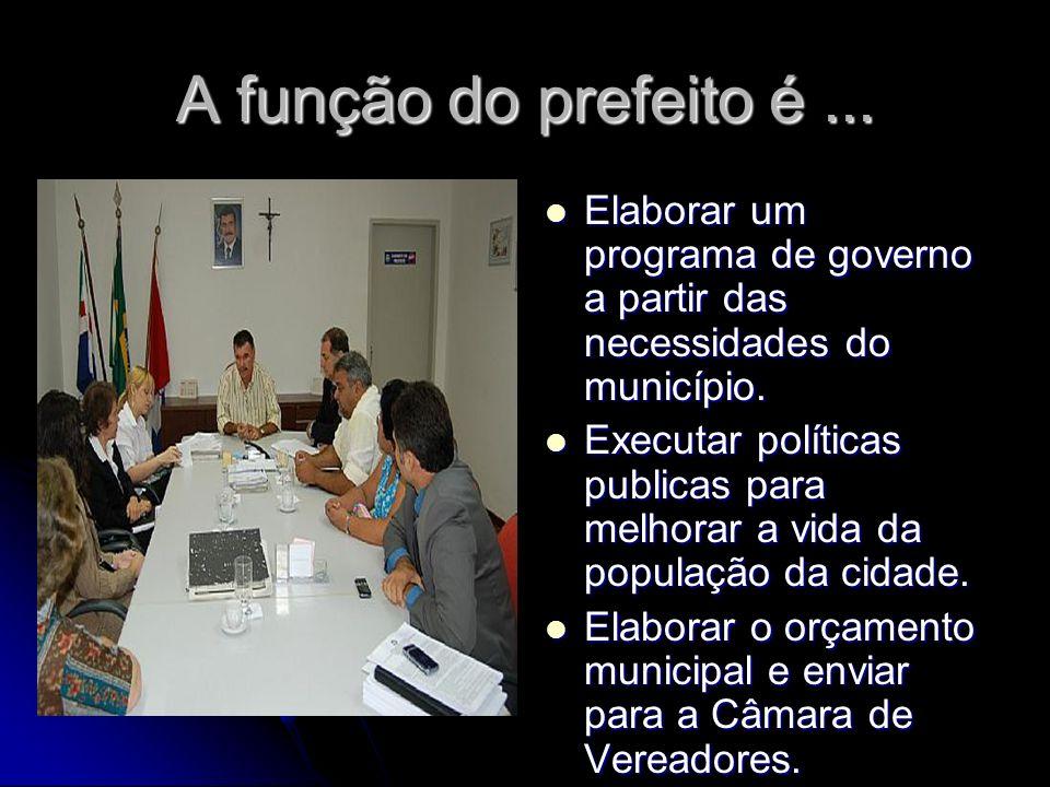 A função do prefeito é... Elaborar um programa de governo a partir das necessidades do município. Elaborar um programa de governo a partir das necessi
