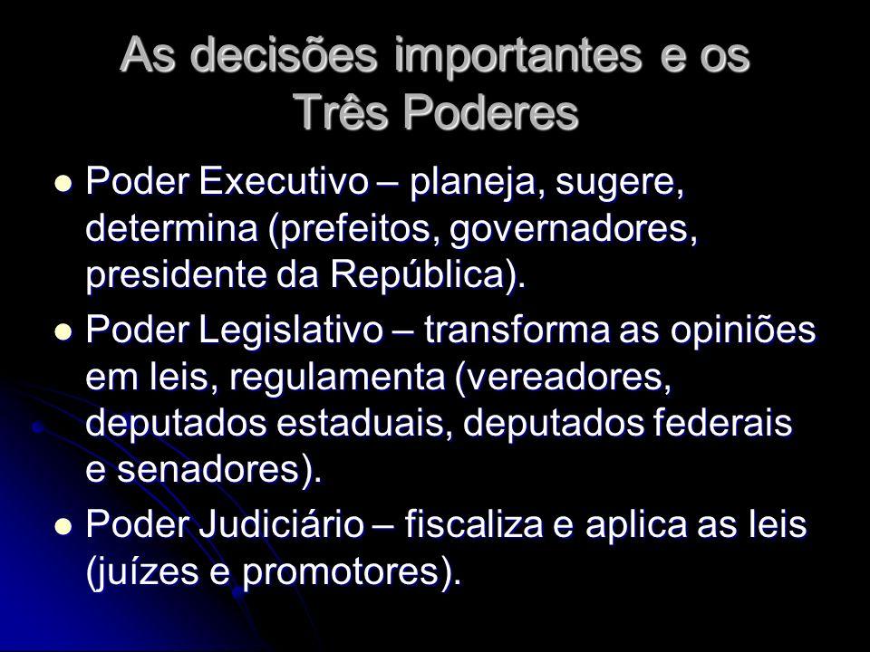 As decisões importantes e os Três Poderes Poder Executivo – planeja, sugere, determina (prefeitos, governadores, presidente da República). Poder Execu