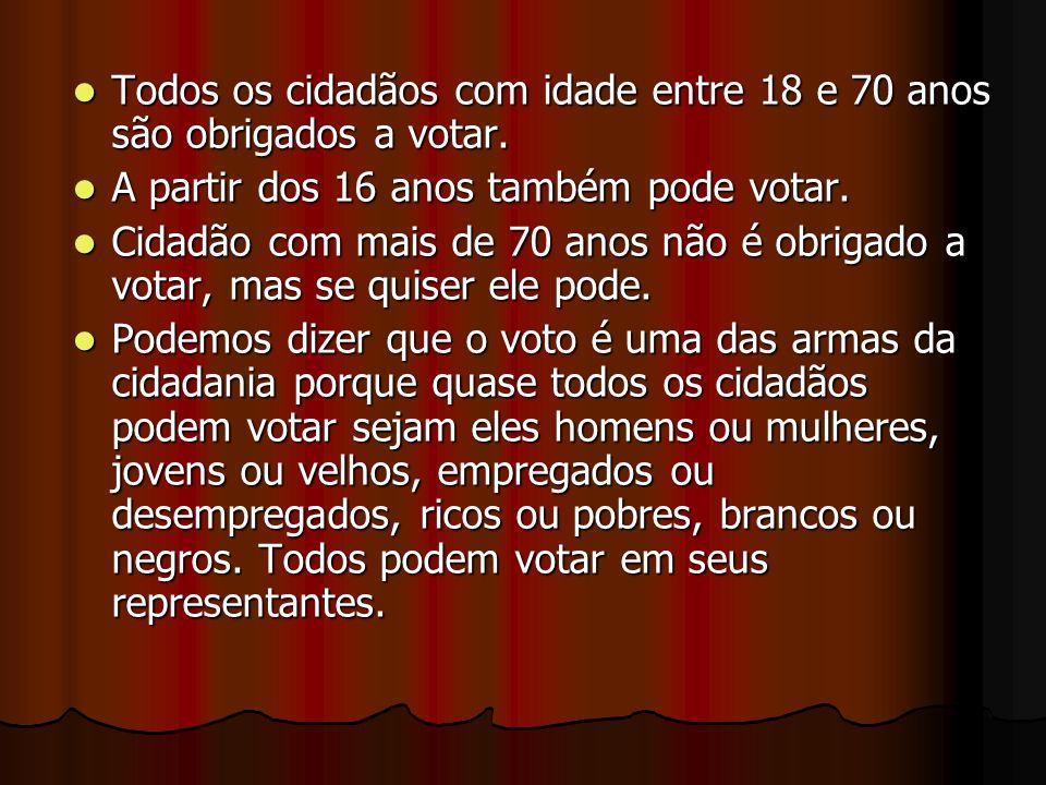 Todos os cidadãos com idade entre 18 e 70 anos são obrigados a votar. A partir dos 16 anos também pode votar. Cidadão com mais de 70 anos não é obriga