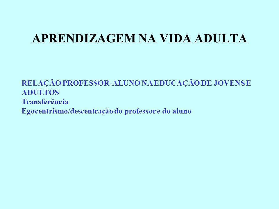 RELAÇÃO PROFESSOR-ALUNO NA EDUCAÇÃO DE JOVENS E ADULTOS Transferência Egocentrismo/descentração do professor e do aluno