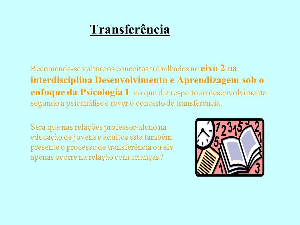 Transferência Recomenda-se voltar aos conceitos trabalhados no eixo 2 na interdisciplina Desenvolvimento e Aprendizagem sob o enfoque da Psicologia I