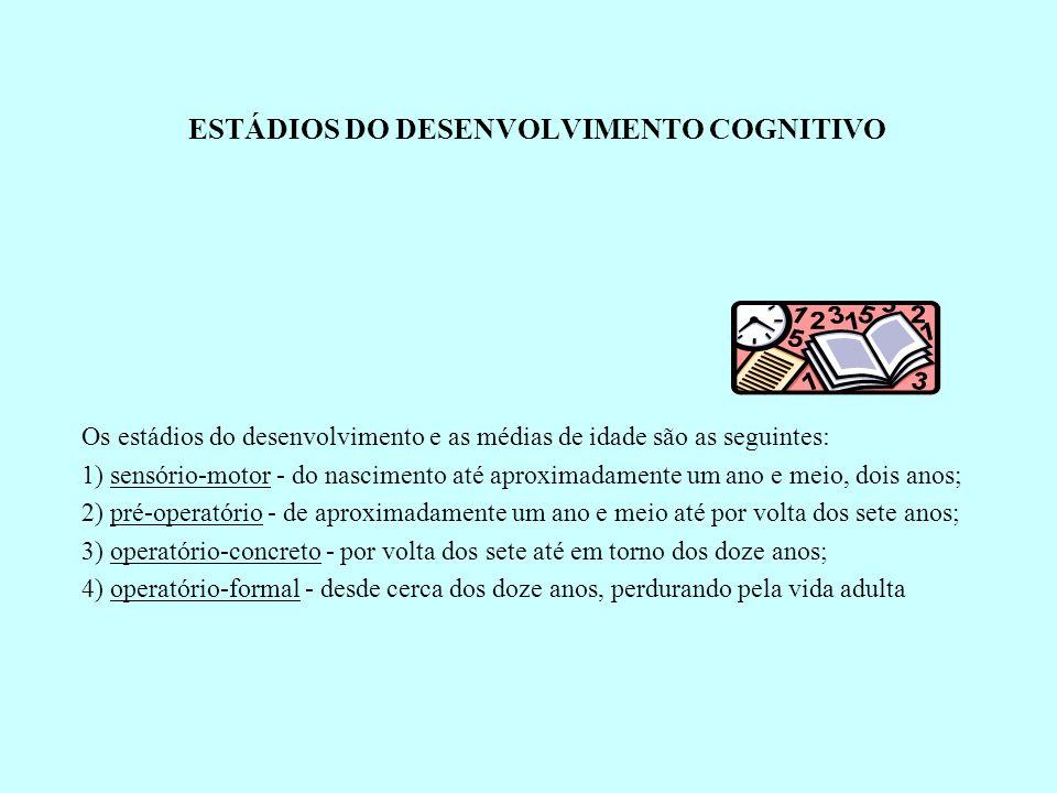 ESTÁDIOS DO DESENVOLVIMENTO COGNITIVO Os estádios do desenvolvimento e as médias de idade são as seguintes: 1) sensório-motor - do nascimento até apro