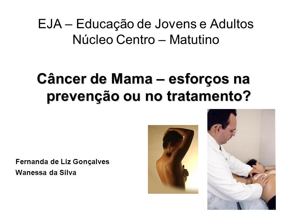 EJA – Educação de Jovens e Adultos Núcleo Centro – Matutino Câncer de Mama – esforços na prevenção ou no tratamento? Fernanda de Liz Gonçalves Wanessa