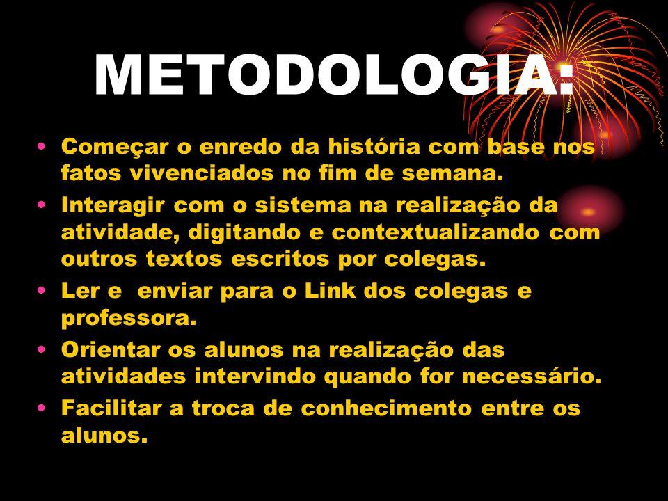 METODOLOGIA: Começar o enredo da história com base nos fatos vivenciados no fim de semana. Interagir com o sistema na realização da atividade, digitan