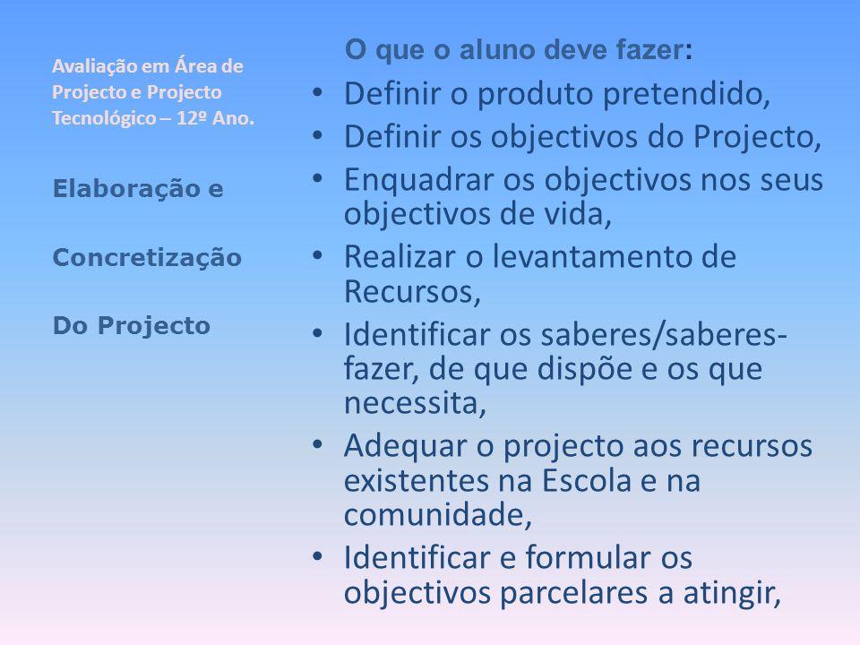 Avaliação em Área de Projecto e Projecto Tecnológico – 12º Ano. Definir o produto pretendido, Definir os objectivos do Projecto, Enquadrar os objectiv
