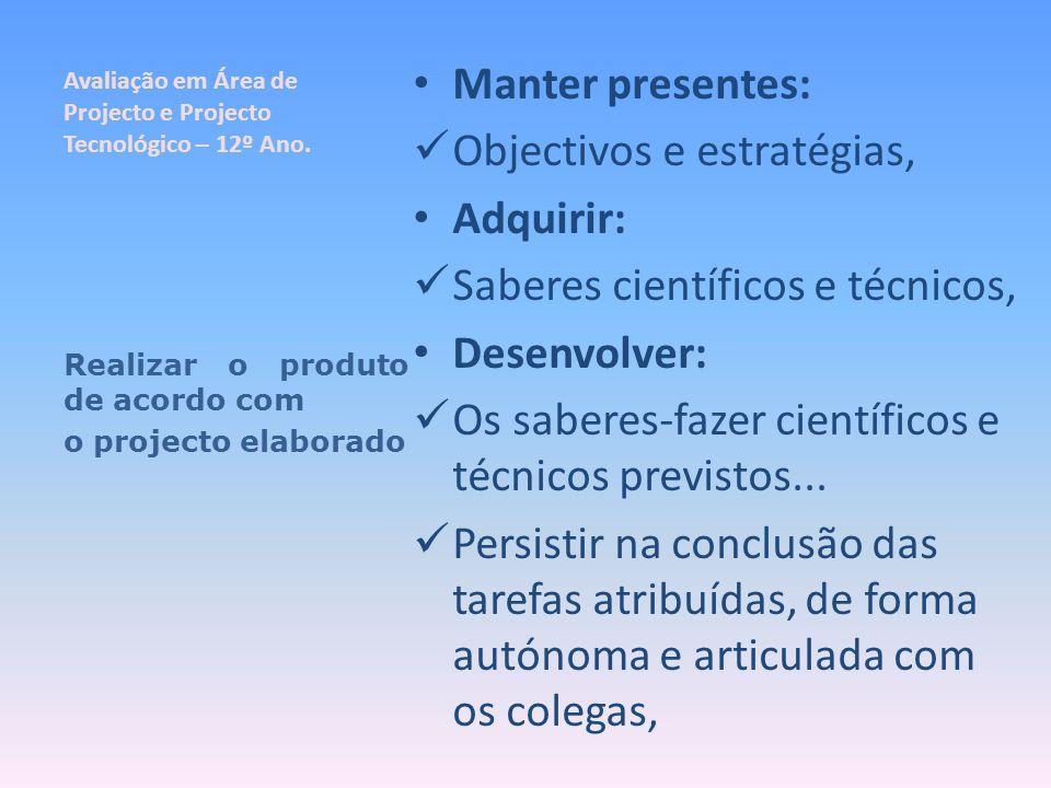 Avaliação em Área de Projecto e Projecto Tecnológico – 12º Ano. Manter presentes: Objectivos e estratégias, Adquirir: Saberes científicos e técnicos,