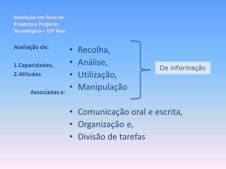 Avaliação em Área de Projecto e Projecto Tecnológico – 12º Ano. Recolha, Análise, Utilização, Manipulação Comunicação oral e escrita, Organização e, D
