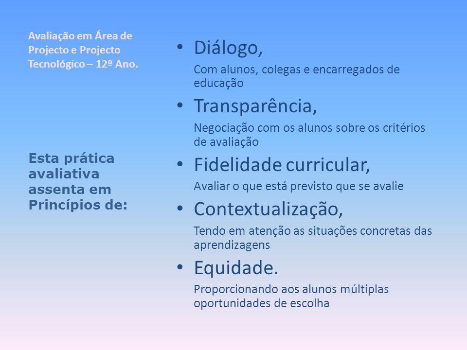 Avaliação em Área de Projecto e Projecto Tecnológico – 12º Ano. Diálogo, Com alunos, colegas e encarregados de educação Transparência, Negociação com