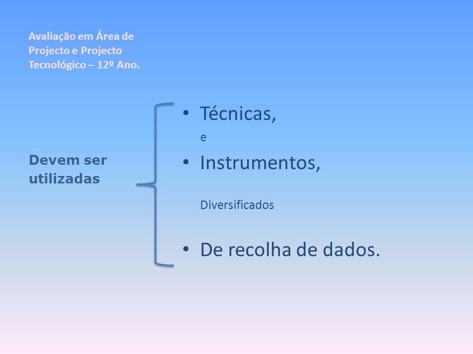 Avaliação em Área de Projecto e Projecto Tecnológico – 12º Ano. Técnicas, e Instrumentos, Diversificados De recolha de dados. Devem ser utilizadas