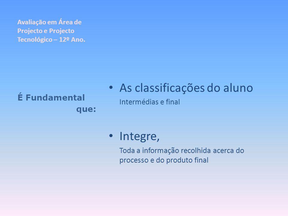 Avaliação em Área de Projecto e Projecto Tecnológico – 12º Ano. As classificações do aluno Intermédias e final Integre, Toda a informação recolhida ac