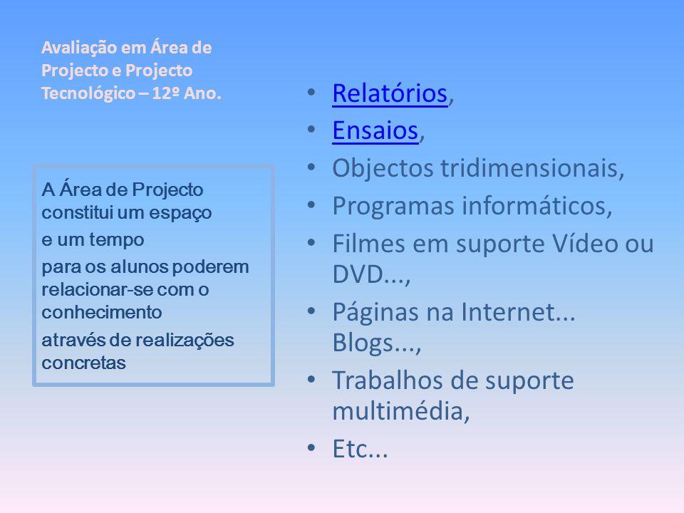 Relatórios, Relatórios Ensaios, Ensaios Objectos tridimensionais, Programas informáticos, Filmes em suporte Vídeo ou DVD..., Páginas na Internet... Bl