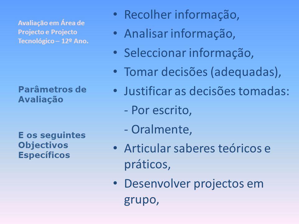 Avaliação em Área de Projecto e Projecto Tecnológico – 12º Ano. Recolher informação, Analisar informação, Seleccionar informação, Tomar decisões (adeq