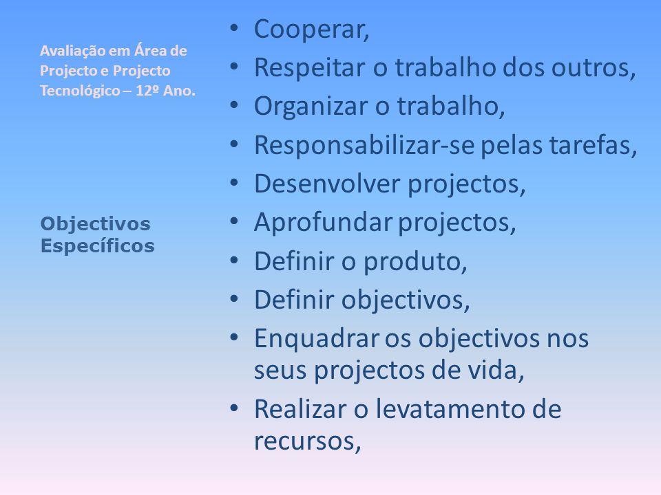 Avaliação em Área de Projecto e Projecto Tecnológico – 12º Ano. Cooperar, Respeitar o trabalho dos outros, Organizar o trabalho, Responsabilizar-se pe