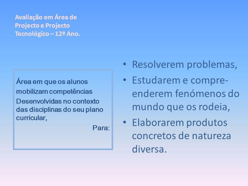 Resolverem problemas, Estudarem e compre- enderem fenómenos do mundo que os rodeia, Elaborarem produtos concretos de natureza diversa. Área em que os