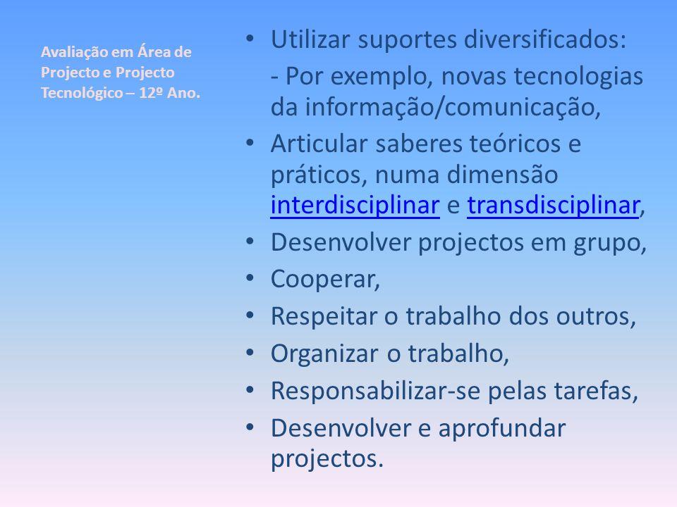 Avaliação em Área de Projecto e Projecto Tecnológico – 12º Ano. Utilizar suportes diversificados: - Por exemplo, novas tecnologias da informação/comun