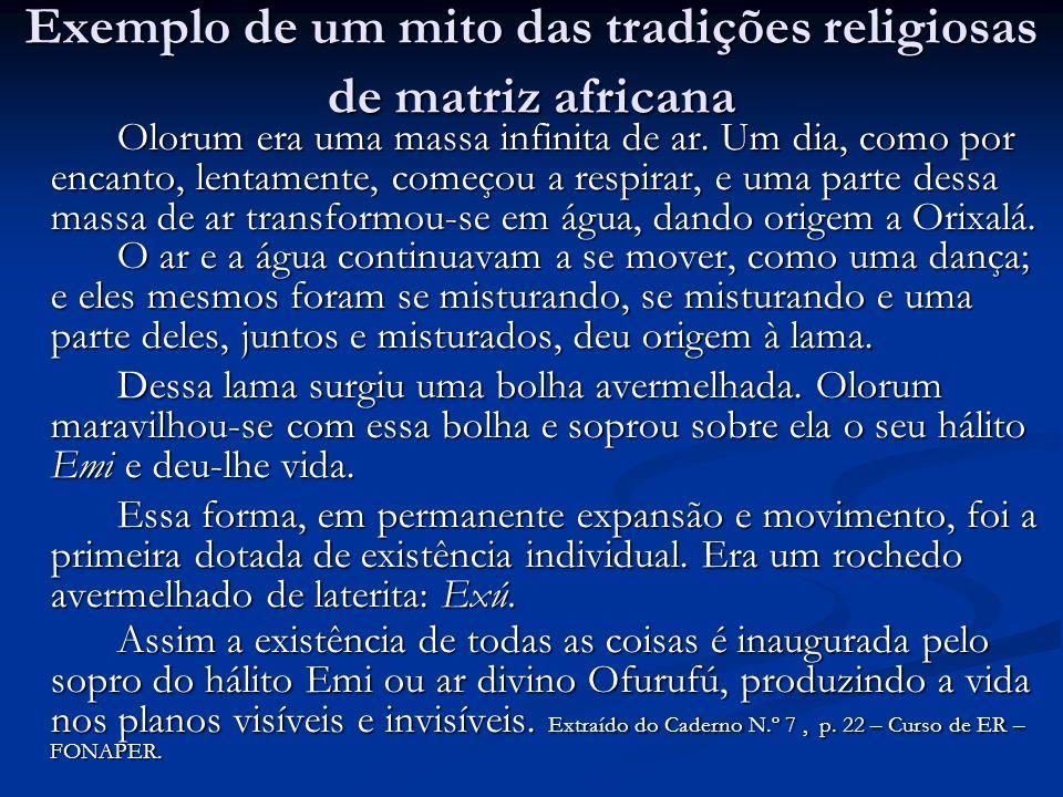 Exemplo de um mito das tradições religiosas de matriz africana Olorum era uma massa infinita de ar.