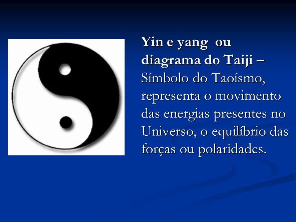 Yin e yang ou diagrama do Taiji – Símbolo do Taoísmo, representa o movimento das energias presentes no Universo, o equilíbrio das forças ou polaridades.