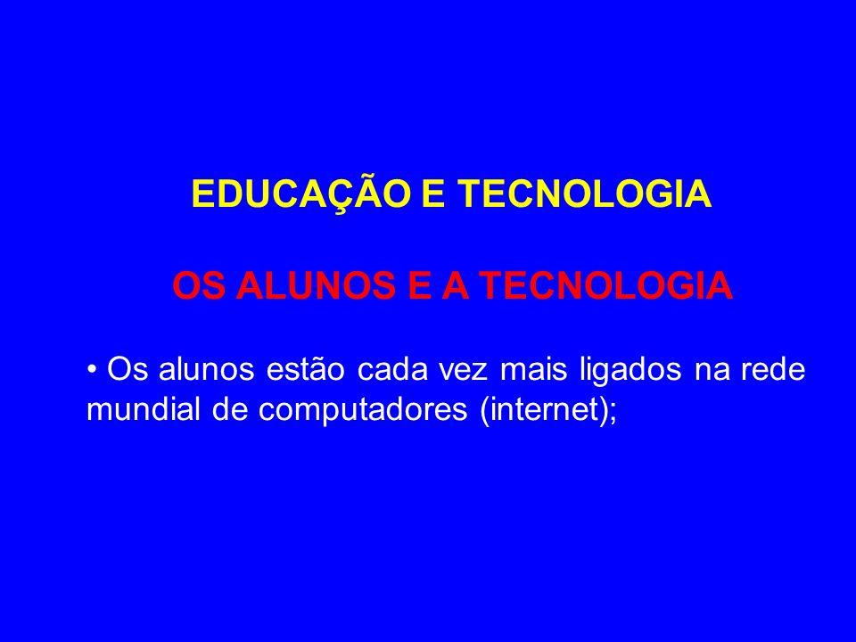 EDUCAÇÃO E TECNOLOGIA OS ALUNOS E A TECNOLOGIA Os alunos estão cada vez mais ligados na rede mundial de computadores (internet);