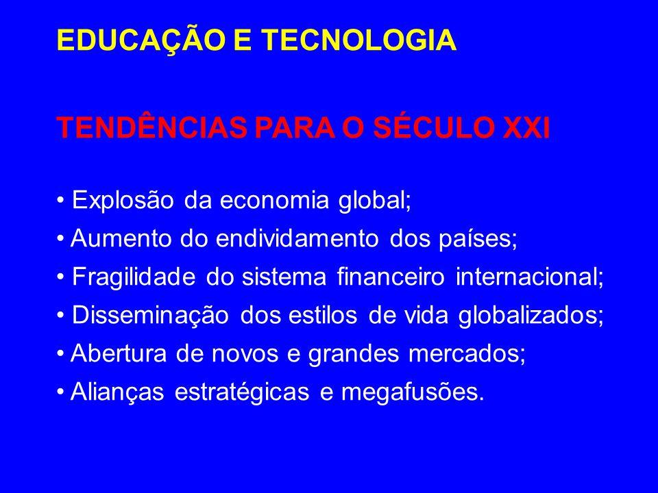 TENDÊNCIAS PARA O SÉCULO XXI Explosão da economia global; Aumento do endividamento dos países; Fragilidade do sistema financeiro internacional; Dissem