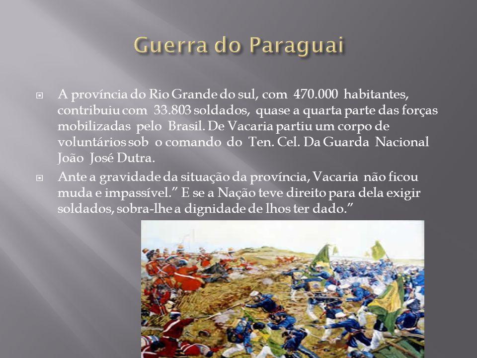 A província do Rio Grande do sul, com 470.000 habitantes, contribuiu com 33.803 soldados, quase a quarta parte das forças mobilizadas pelo Brasil. De