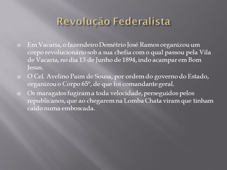 Em Vacaria, o fazendeiro Demétrio José Ramos organizou um corpo revolucionário sob a sua chefia com o qual passou pela Vila de Vacaria, no dia 13 de J