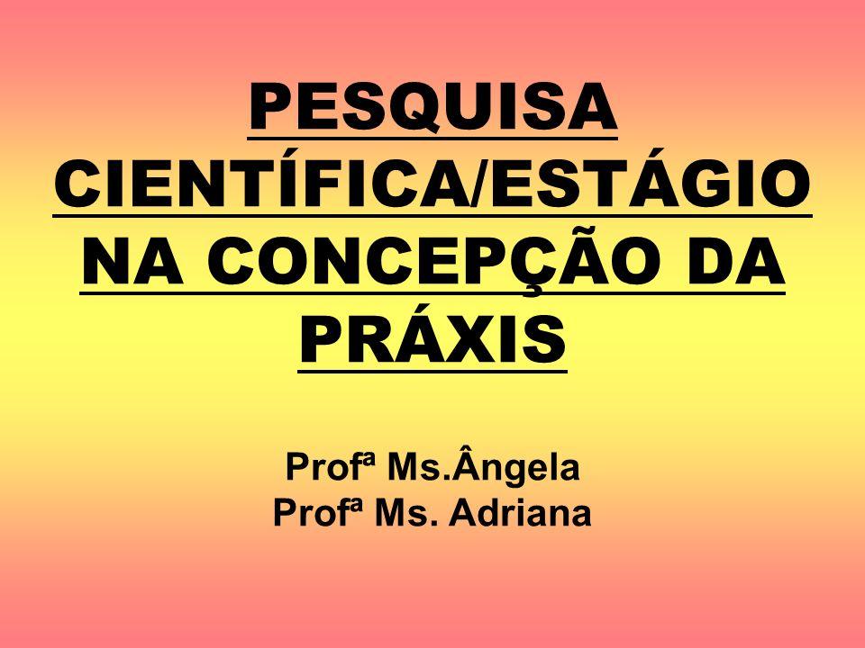 PESQUISA CIENTÍFICA/ESTÁGIO NA CONCEPÇÃO DA PRÁXIS Profª Ms.Ângela Profª Ms. Adriana