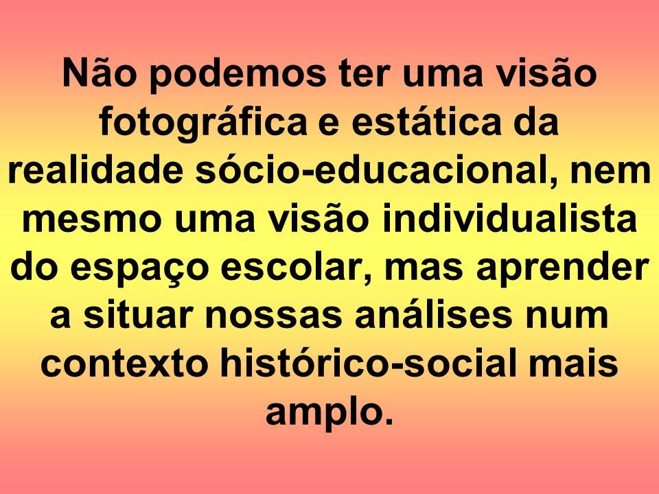 Não podemos ter uma visão fotográfica e estática da realidade sócio-educacional, nem mesmo uma visão individualista do espaço escolar, mas aprender a