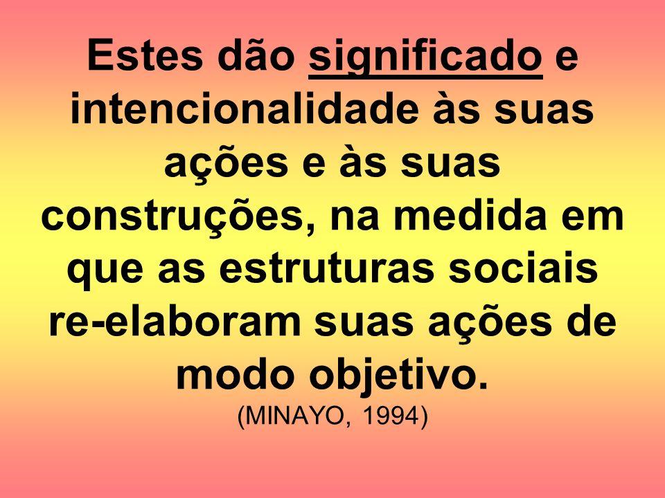 Estes dão significado e intencionalidade às suas ações e às suas construções, na medida em que as estruturas sociais re-elaboram suas ações de modo ob