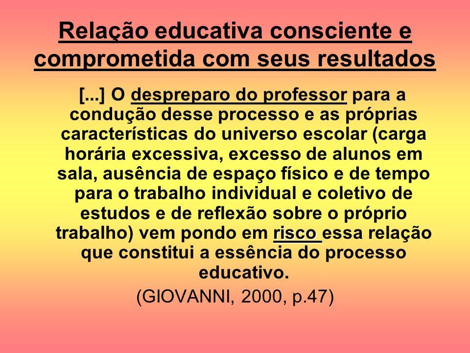 Relação educativa consciente e comprometida com seus resultados risco [...] O despreparo do professor para a condução desse processo e as próprias car