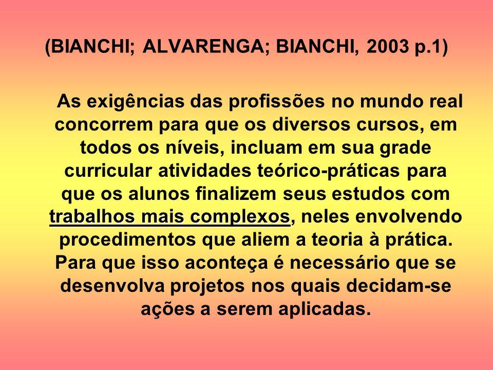 (BIANCHI; ALVARENGA; BIANCHI, 2003 p.1) trabalhos mais complexos As exigências das profissões no mundo real concorrem para que os diversos cursos, em
