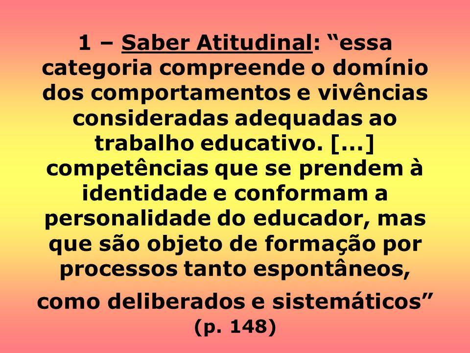 1 – Saber Atitudinal: essa categoria compreende o domínio dos comportamentos e vivências consideradas adequadas ao trabalho educativo. [...] competênc
