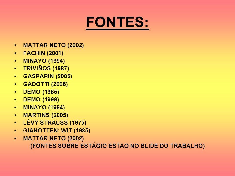 FONTES: MATTAR NETO (2002) FACHIN (2001) MINAYO (1994) TRIVIÑOS (1987) GASPARIN (2005) GADOTTI (2006) DEMO (1985) DEMO (1998) MINAYO (1994) MARTINS (2