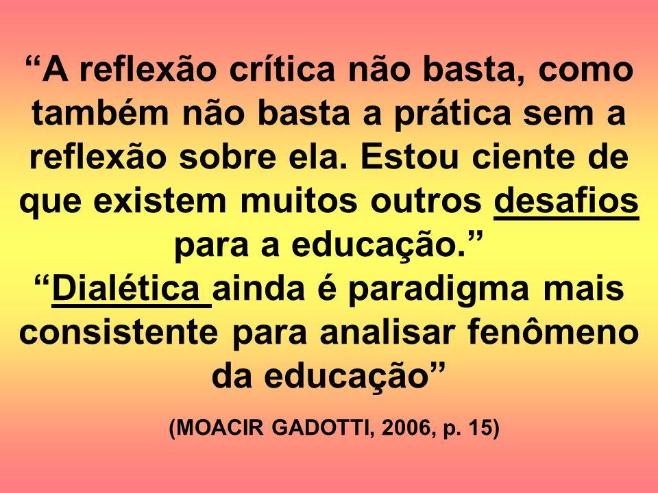 A reflexão crítica não basta, como também não basta a prática sem a reflexão sobre ela. Estou ciente de que existem muitos outros desafios para a educ