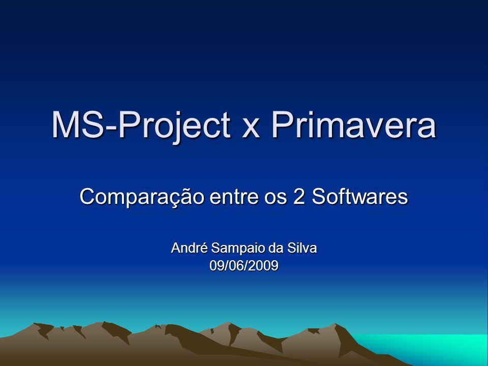 MS-Project x Primavera Comparação entre os 2 Softwares André Sampaio da Silva 09/06/2009