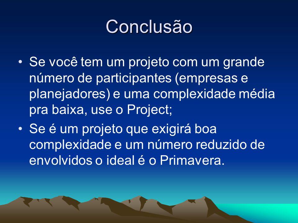 Conclusão Se você tem um projeto com um grande número de participantes (empresas e planejadores) e uma complexidade média pra baixa, use o Project; Se
