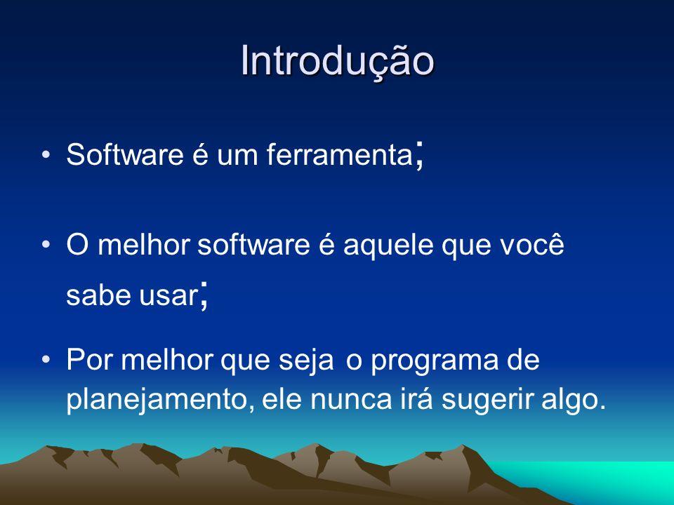 Introdução Software é um ferramenta ; O melhor software é aquele que você sabe usar ; Por melhor que seja o programa de planejamento, ele nunca irá su