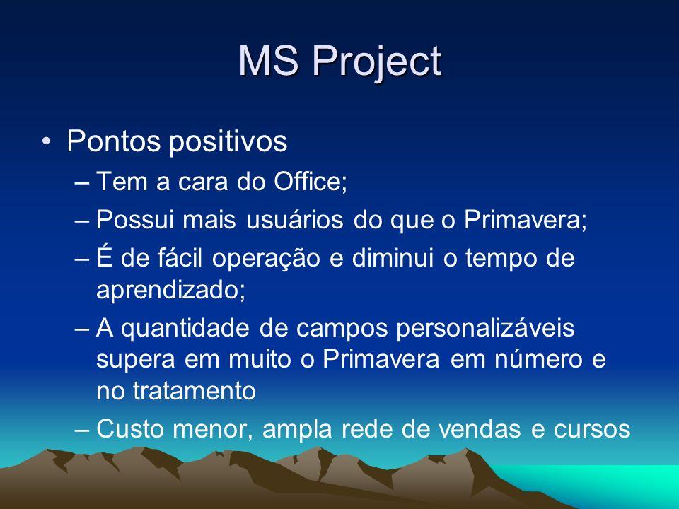 MS Project Pontos positivos –Tem a cara do Office; –Possui mais usuários do que o Primavera; –É de fácil operação e diminui o tempo de aprendizado; –A