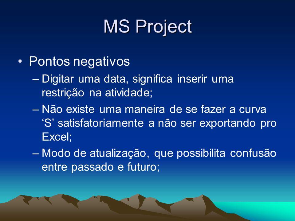 MS Project Pontos negativos –Digitar uma data, significa inserir uma restrição na atividade; –Não existe uma maneira de se fazer a curva S satisfatori