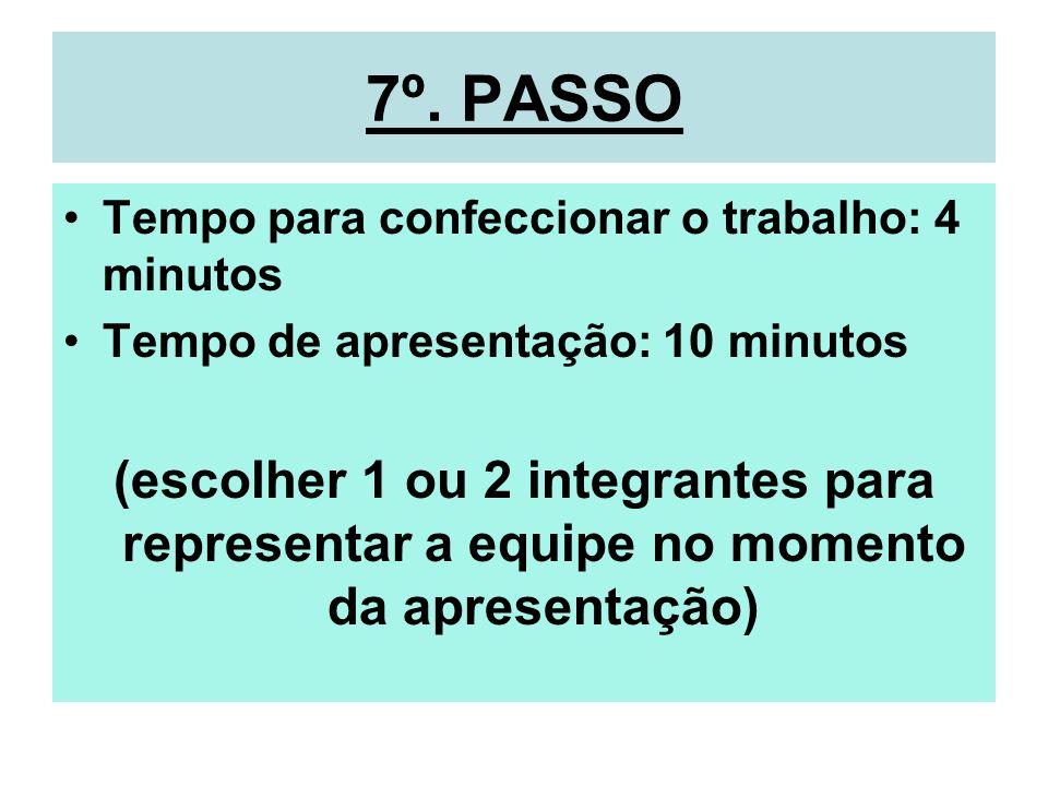7º. PASSO Tempo para confeccionar o trabalho: 4 minutos Tempo de apresentação: 10 minutos (escolher 1 ou 2 integrantes para representar a equipe no mo
