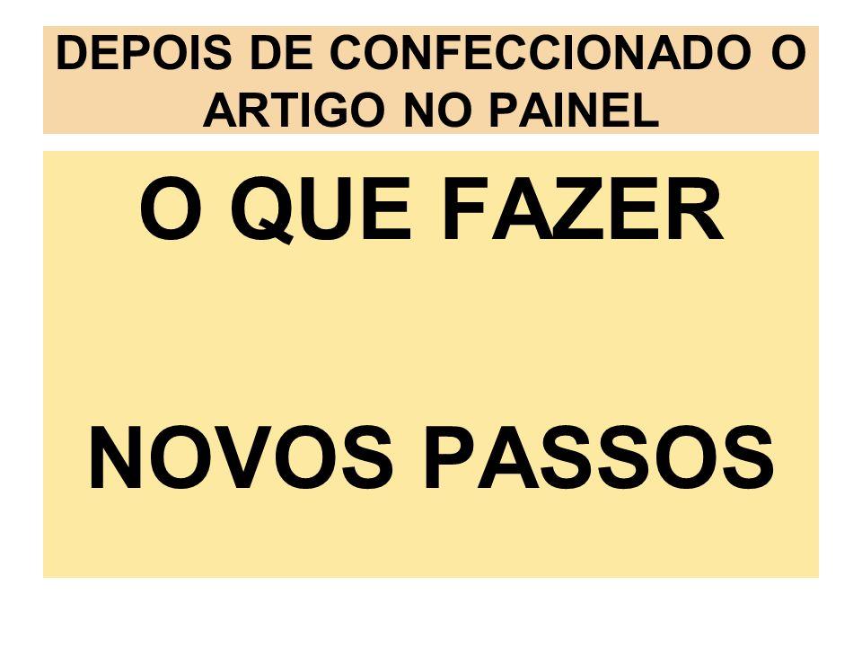 DEPOIS DE CONFECCIONADO O ARTIGO NO PAINEL O QUE FAZER NOVOS PASSOS