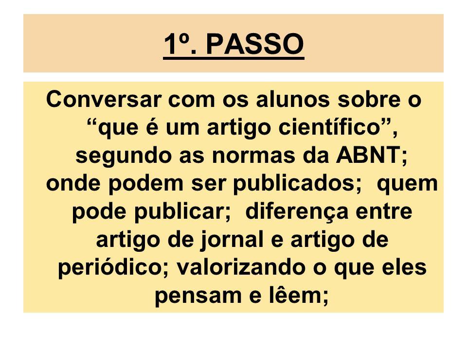 1º. PASSO Conversar com os alunos sobre o que é um artigo científico, segundo as normas da ABNT; onde podem ser publicados; quem pode publicar; difere