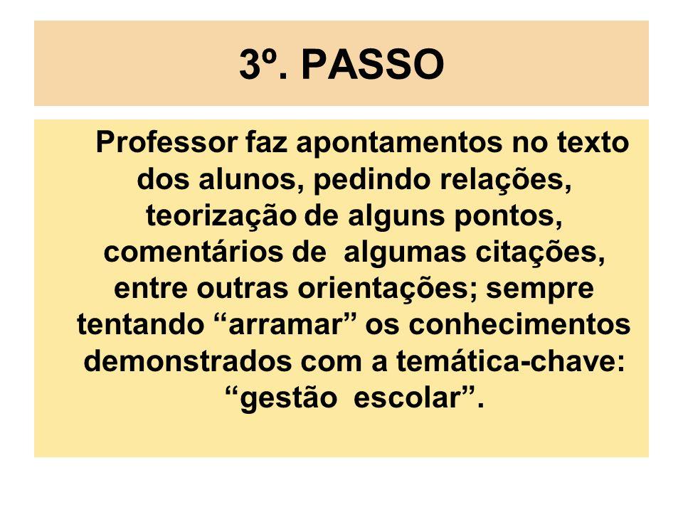 3º. PASSO Professor faz apontamentos no texto dos alunos, pedindo relações, teorização de alguns pontos, comentários de algumas citações, entre outras