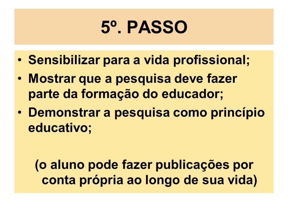 5º. PASSO Sensibilizar para a vida profissional; Mostrar que a pesquisa deve fazer parte da formação do educador; Demonstrar a pesquisa como princípio